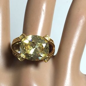 Jewelry - Bold Champagne CZ SOLITAIRE GOLDTONE COCKTAIL RING